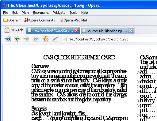 SVG output of CVS Quick Reference card as rendered in Opera 9.5 Beta showing poor quality of SVG output