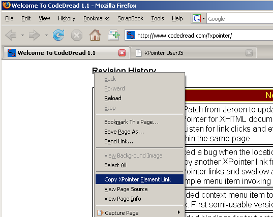 A screenshot of the Firefox browser context menu highlighting the 'Copy XPointer Element Link' menu item that is added with the FXPointer extension