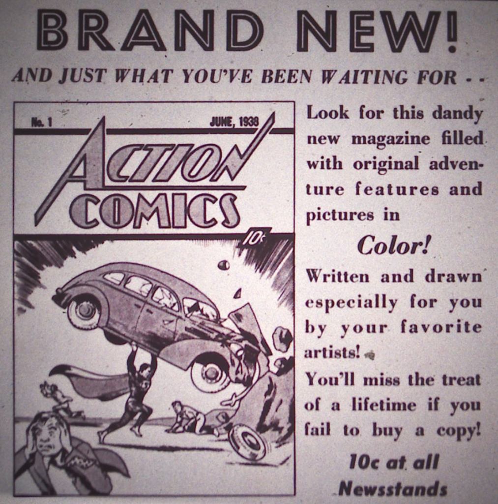 Advertisement for Action Comics from Detective Comics #15, April 1938.