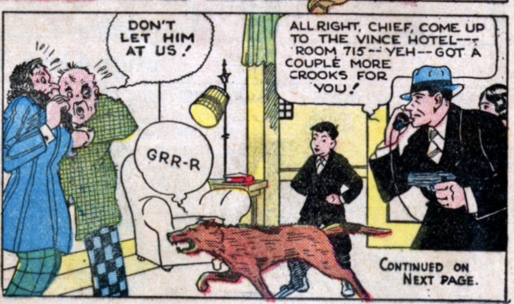 "A panel from the comic strip ""Dan Dunn"", published in Famous Funnies #6, December 1934."