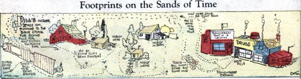 "A comic panel from ""Footprints on the Sands of Time"", published in Famous Funnies #4, October 1934."