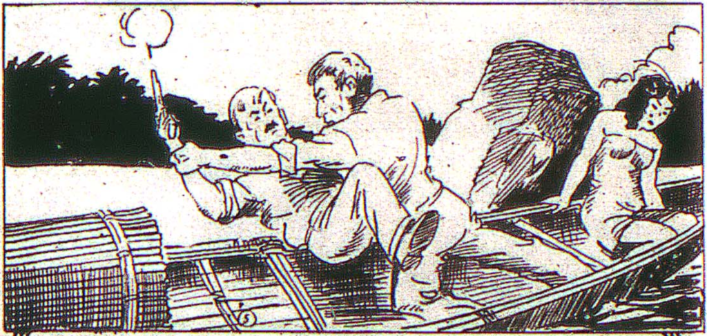 """A panel from """"The Golden Idol"""" in Centaur Publications' Comics Magazine #2, May 1936."""