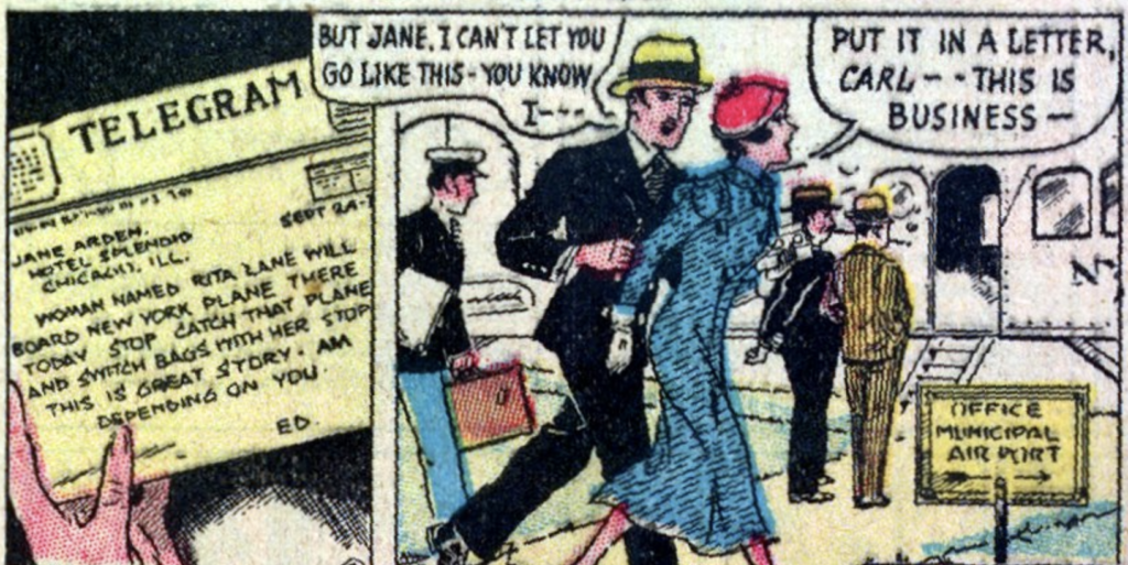 """A panel from the comic strip """"Jane Arden"""" published in Famous Funnies #5, November 1934."""