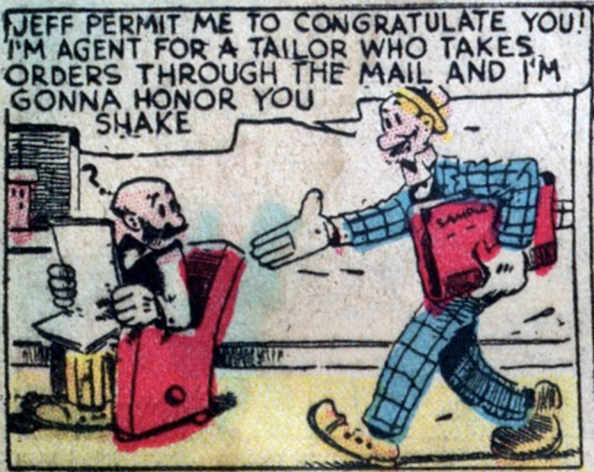 "A panel from the comic strip ""Mutt and Jeff"", published in Famous Funnies #3, September 1934."