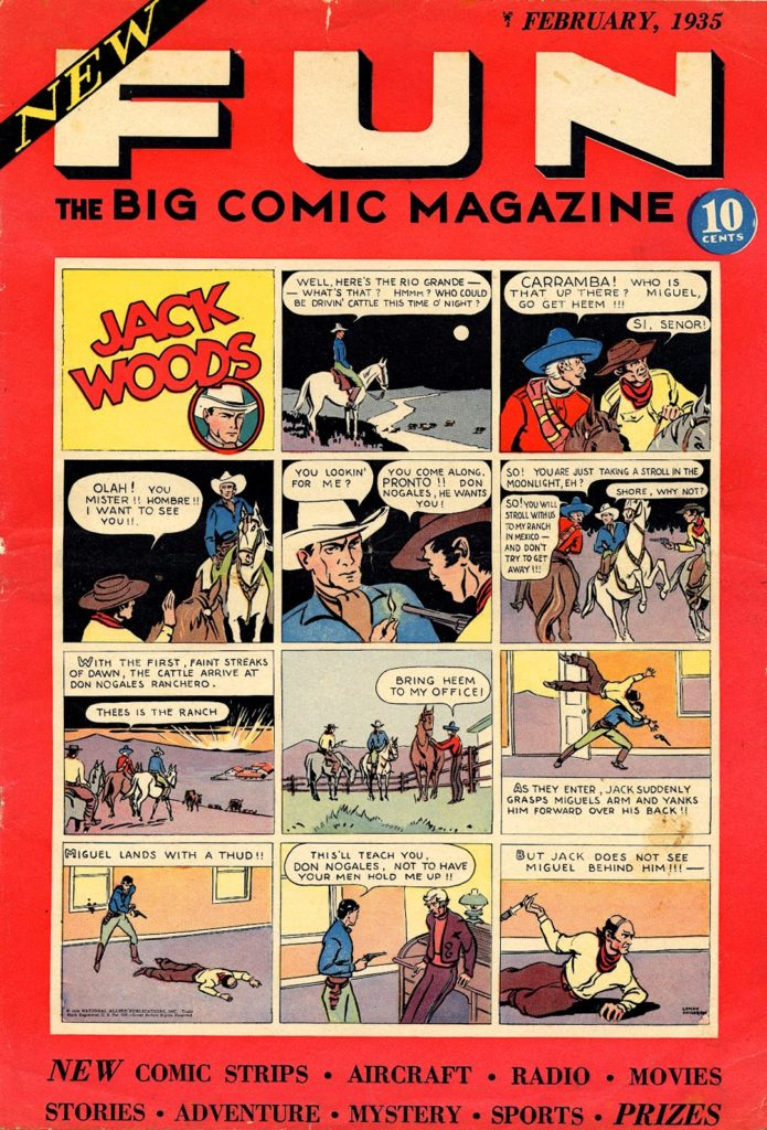 The cover of New Fun #1, published in January 1935, the first comic book by the company that would eventually be known as DC Comics.