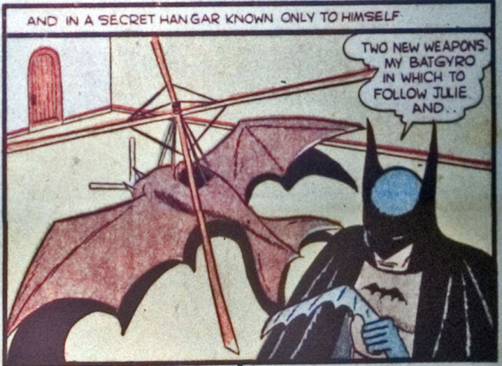A panel from the Batman story in Detective Comics #31, August 1939