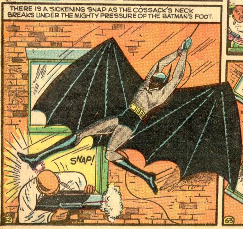 A panel from the Batman story in Detective Comics #30, July 1939