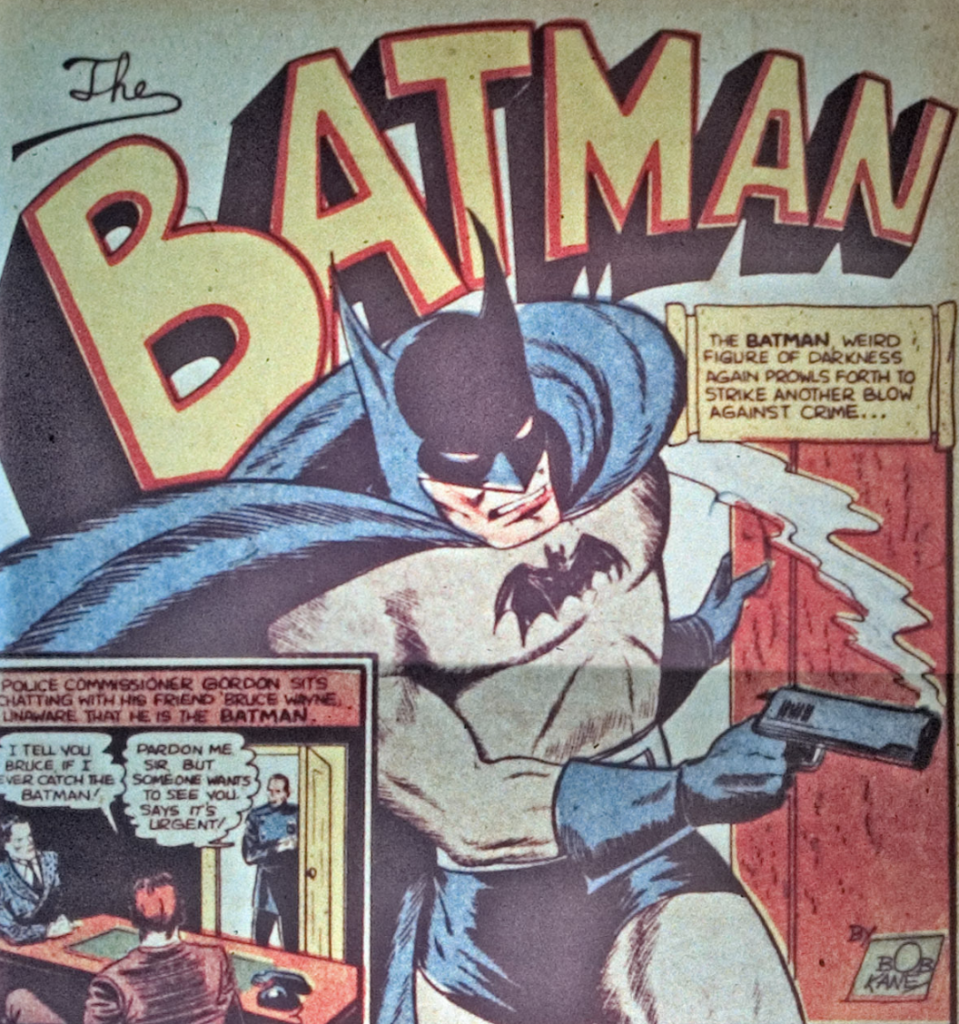 A panel from the Batman story in Detective Comics #35, December 1939