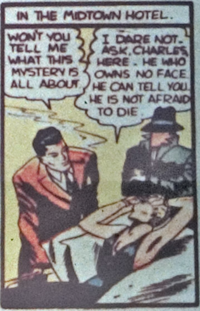 A panel from the Batman story in Detective Comics #34, November 1939
