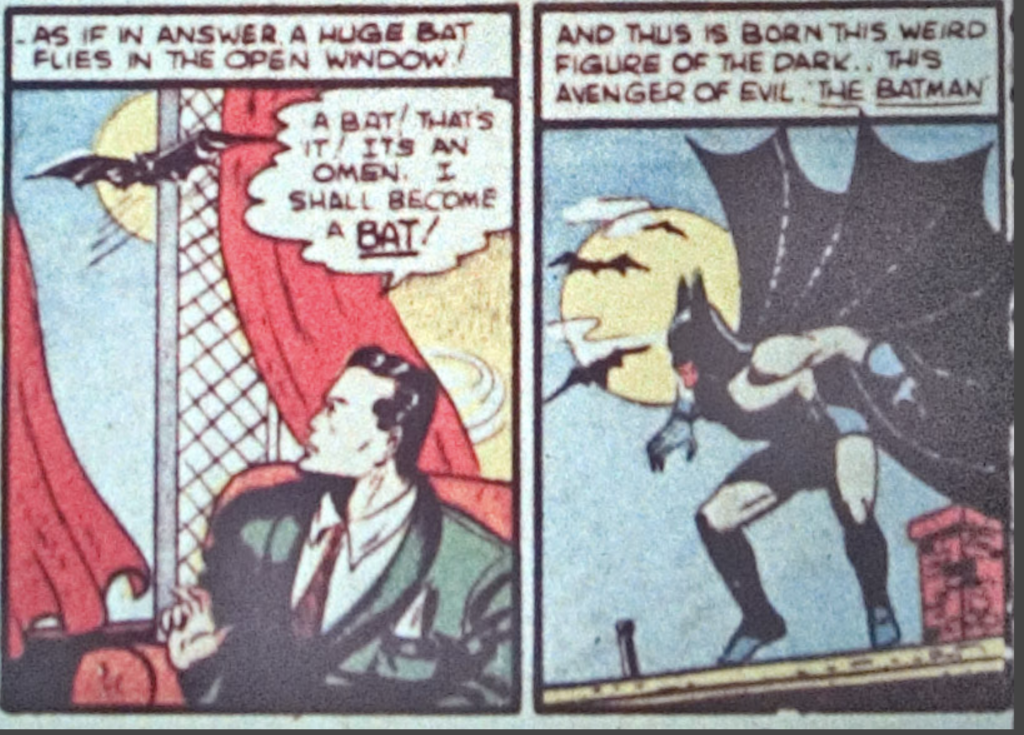 A panel from the Batman story in Detective Comics #33, October 1939