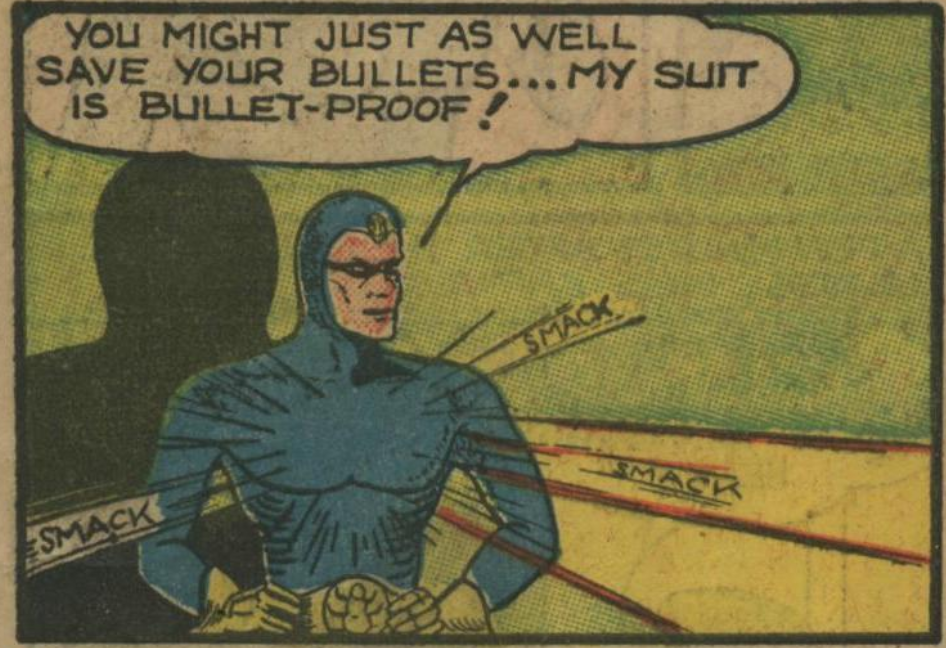A panel from Blue Beetle, Mystery Men #10, March 1940