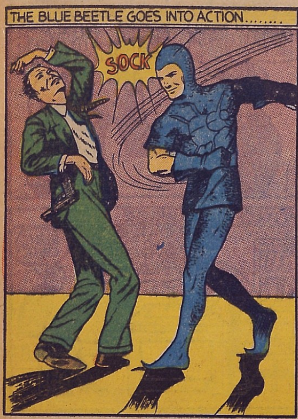 A panel from the Blue Beetle story in Mystery Men Comics #2 (July 1939)