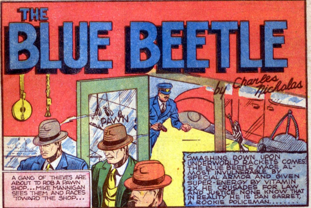 A panel from Blue Beetle, Mystery Men Comics #13, June 1940