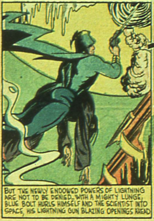 A panel from the Blue Bolt #1, April 1940
