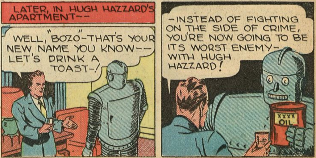 A panel from the Bozo the Iron Man story in Smash Comics #1, June 1939