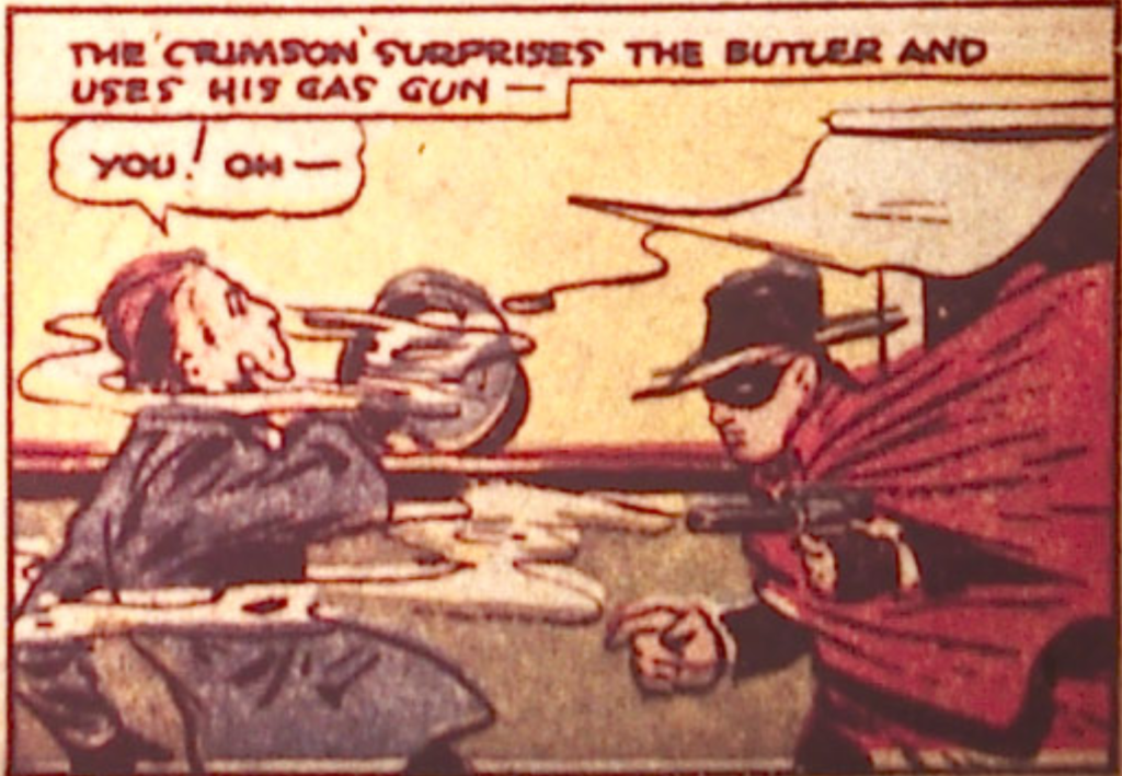 A panel of the Crimson Avenger from Detective Comics #20, September 1938.