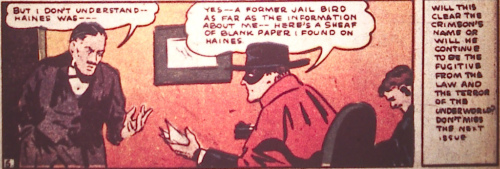 A panel from Detective Comics #22, November 1938 depicting the Crimson Avenger.