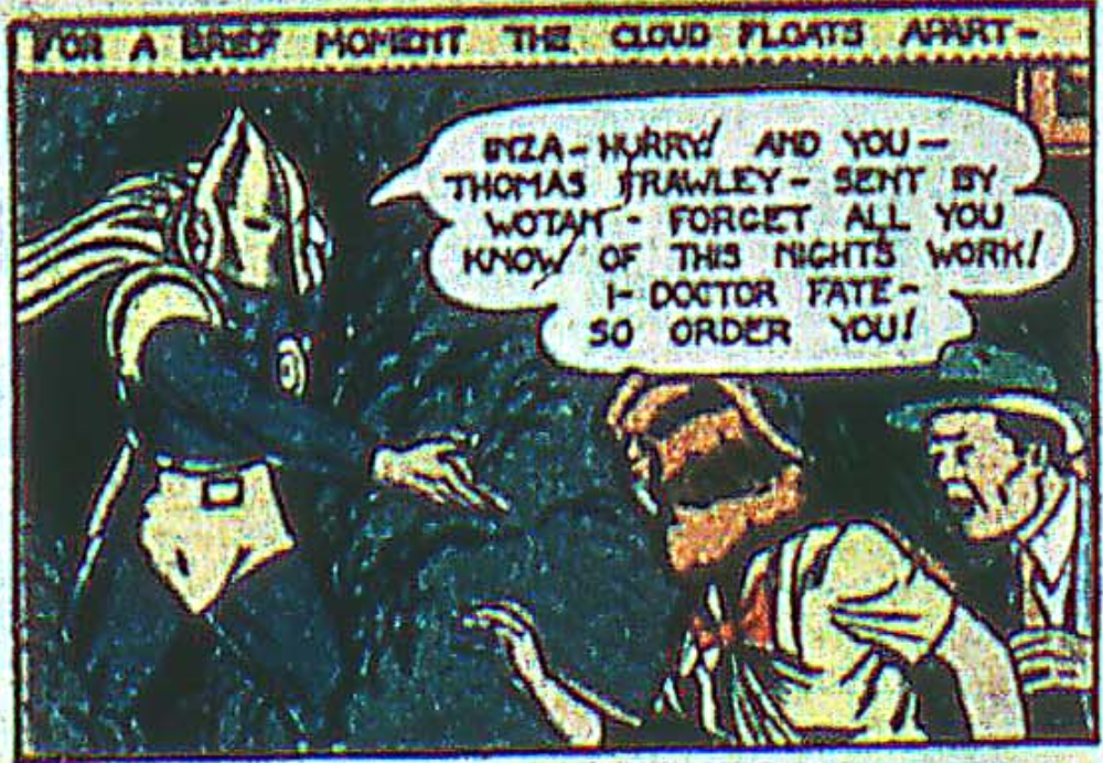 A panel from the first Dr. Fate story in More Fun Comics #55, April 1940