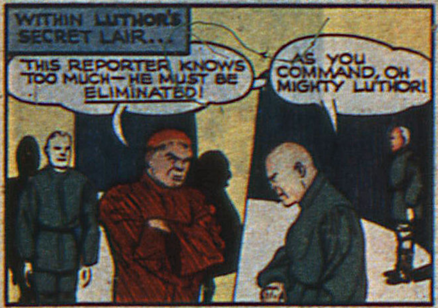 The first appearance of Luthor from Action Comics #23 (February 1940).