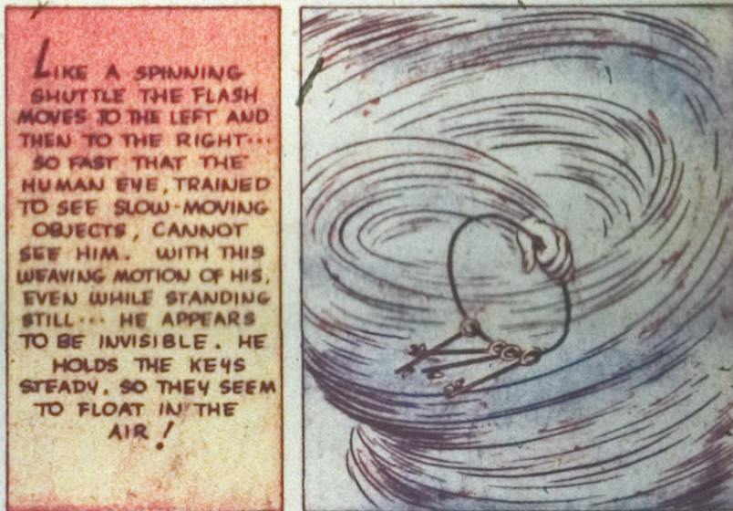 A panel from the Flash story in Flash #3, January 1940