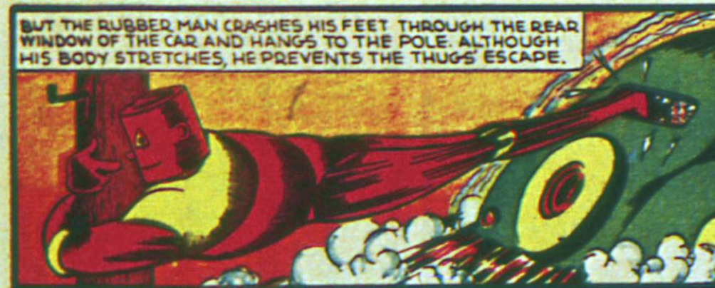 A panel from Flexo, the Rubber Man in Mystic Comics #1, January 1940