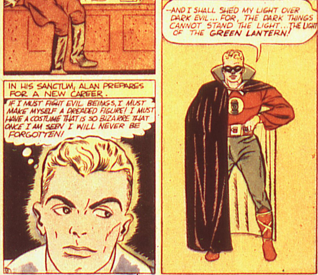 A panel from the debut of Green Lantern in All-American Comics #16, May 1940