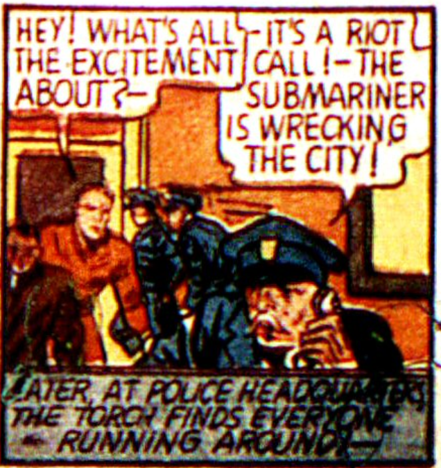 A panel from the Human Torch story in Marvel Mystery Comics #7 (March 1940)