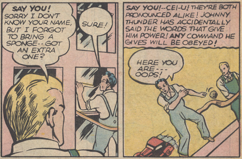 A panel from the Johnny Thunder story in Flash Comics #1, November 1939