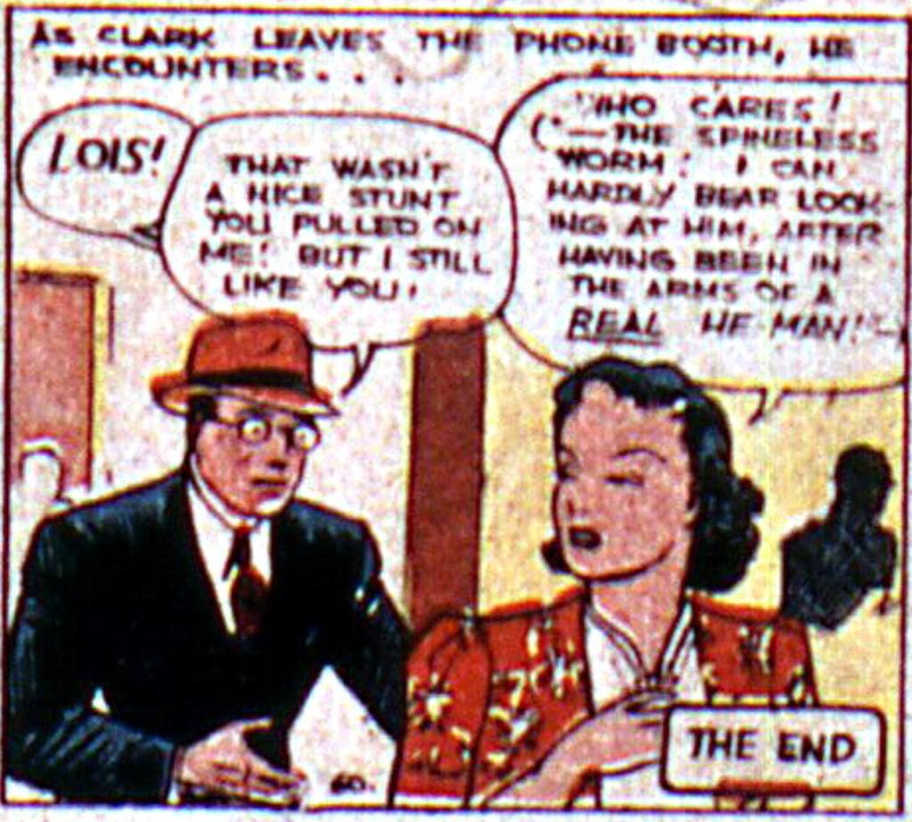 Lois Lane shuns Clark Kent from Action Comics #5, September 1938
