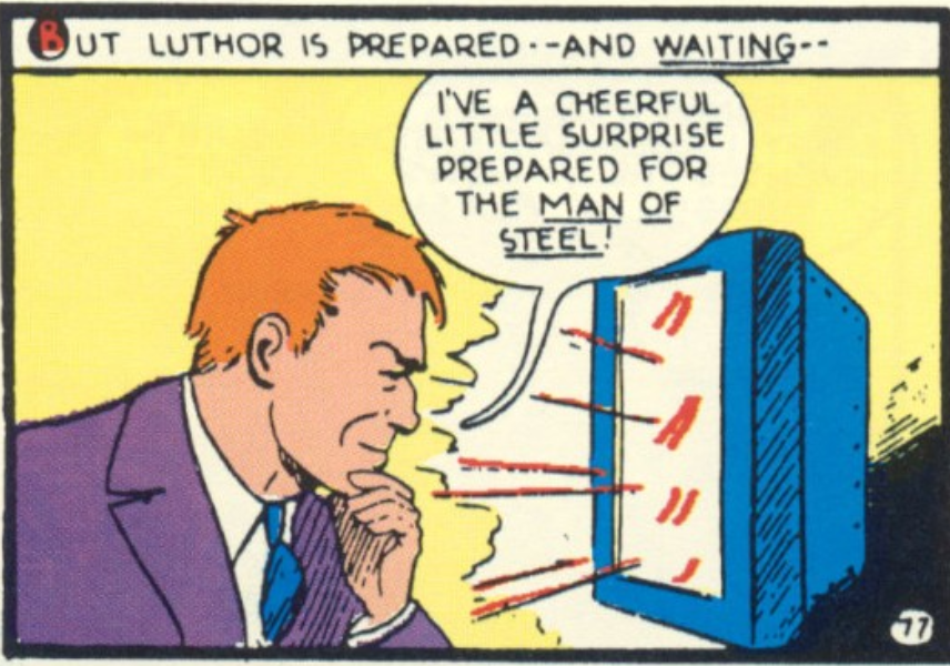 Luthor talks to Superman over his videophone, from Superman #4, Feb 1940