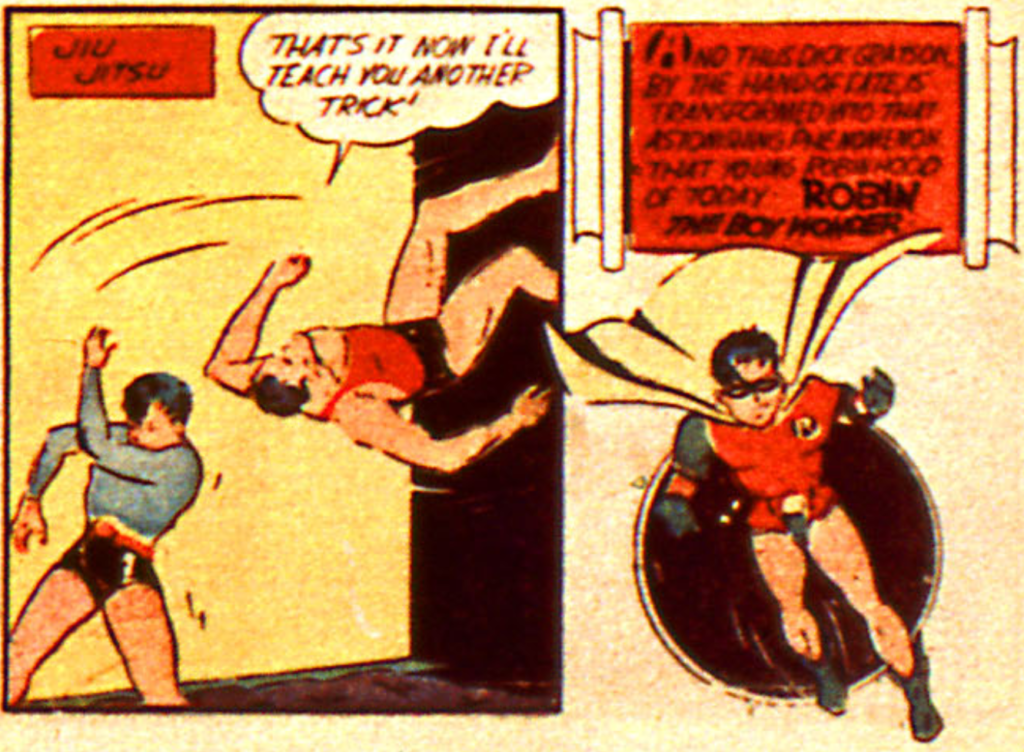 The first appearance of Robin, the Boy Wonder in Detective Comics #38, March 1940