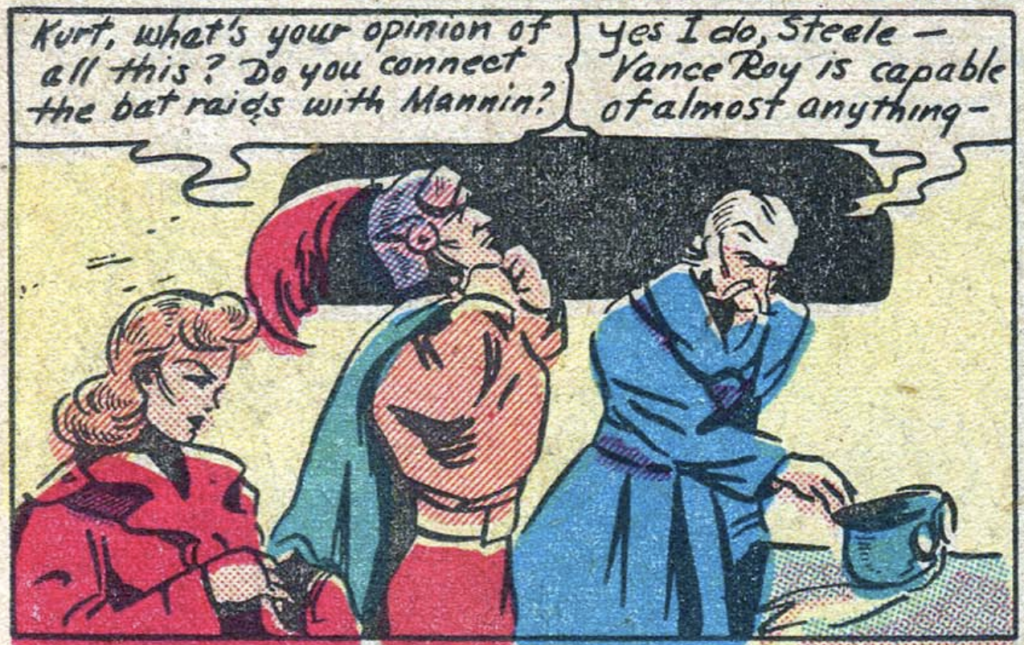 A panel from Skyrocket Steele in Amazing Mystery Funnies #2, August 1938