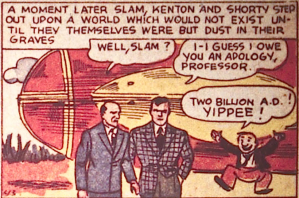 A panel from Slam Bradley in Detective Comics #23, December 1938