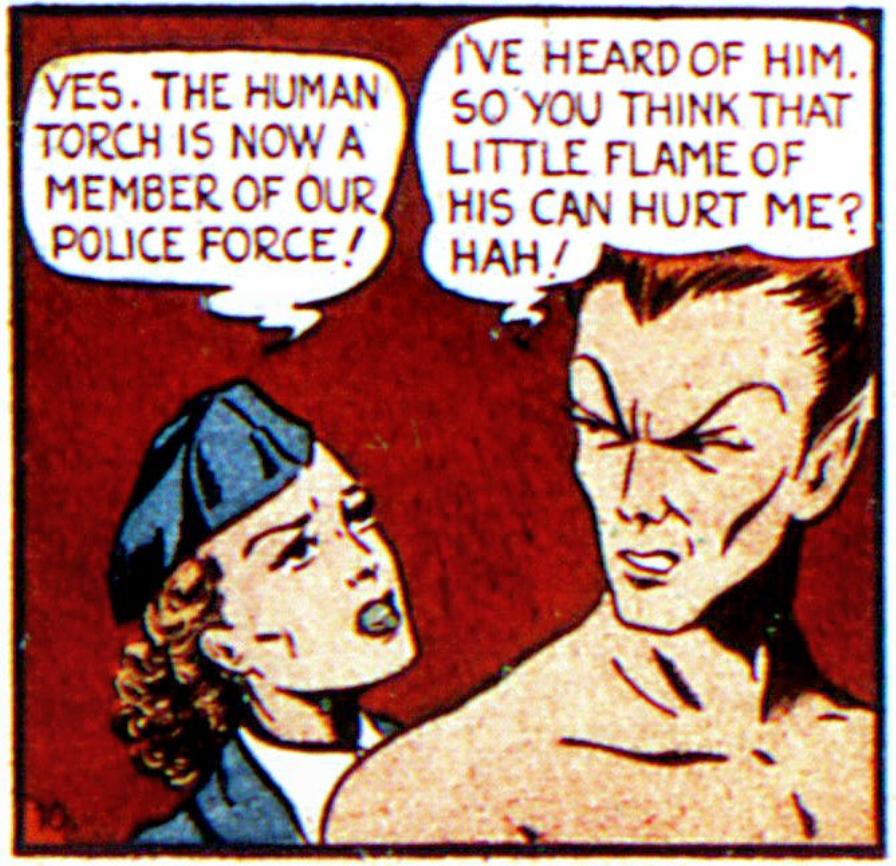 A panel from the Sub-Mariner story in Marvel Mystery #7, March 1940