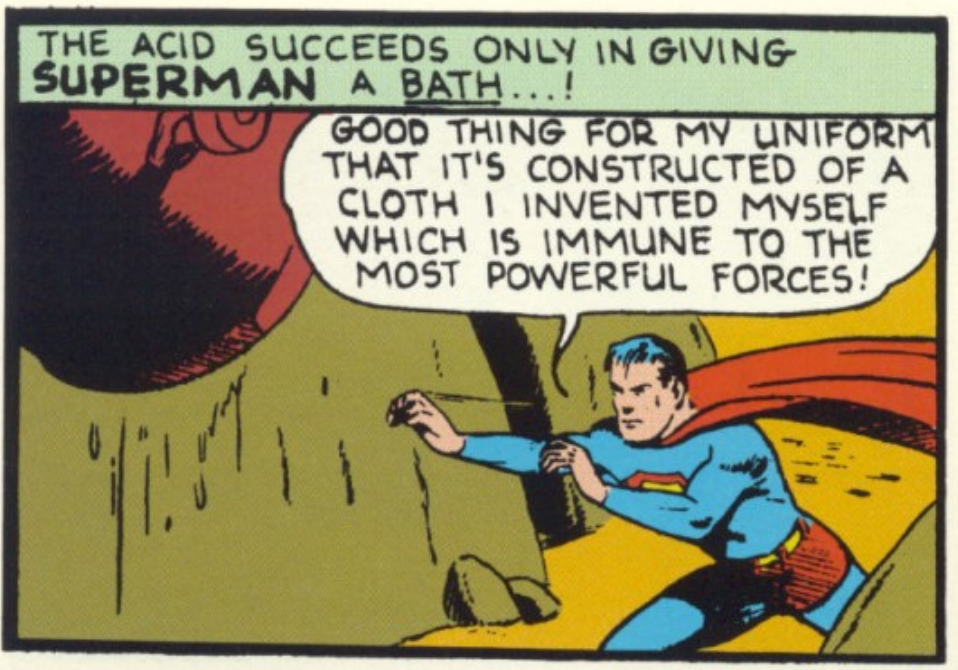 A panel from Superman #5, May 1940.