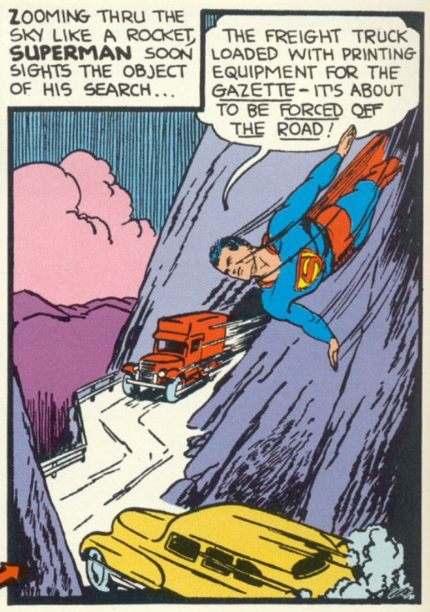 A panel from Superman #6, July 1940