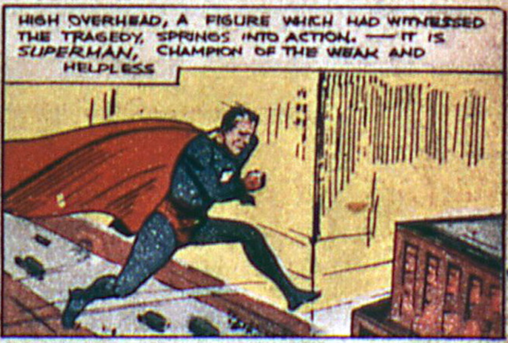 A panel from the Superman story in Action Comics #4, August 1938