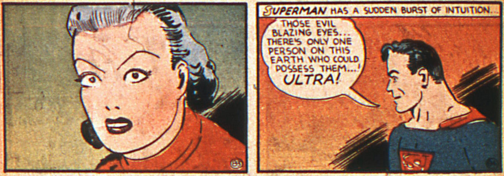 A panel from the Superman story in Action Comics #20, November 1939