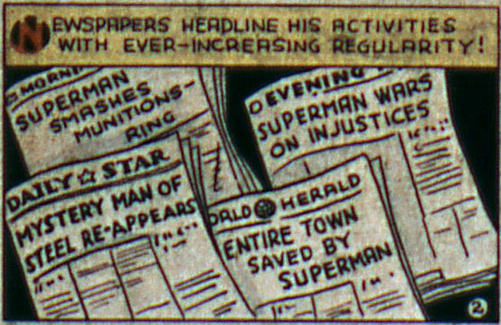 A panel from Action Comics #6, October 1938 depicting many newspaper headlines talking about Superman.