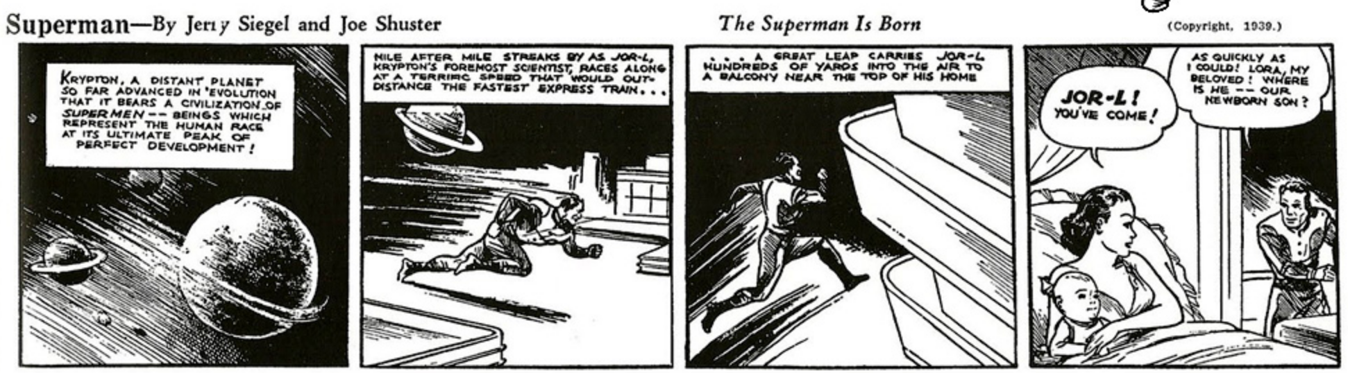 The first Superman newspaper strip from 1939, depicting the origin of Superman.