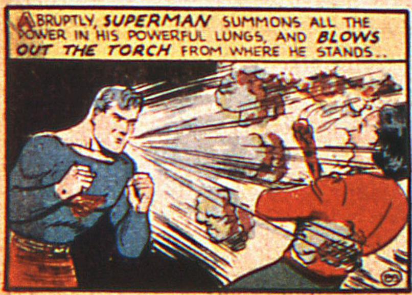 The first time Superman used his super-breath from Action Comics #20, November 1939