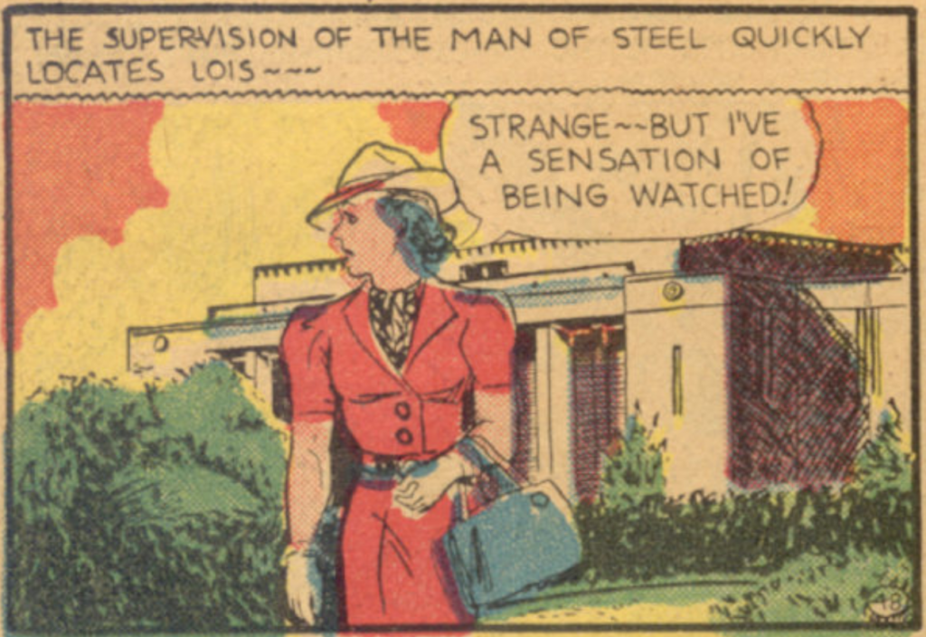 A panel from the Superman story from the New York World's Fair Comics, April 1938