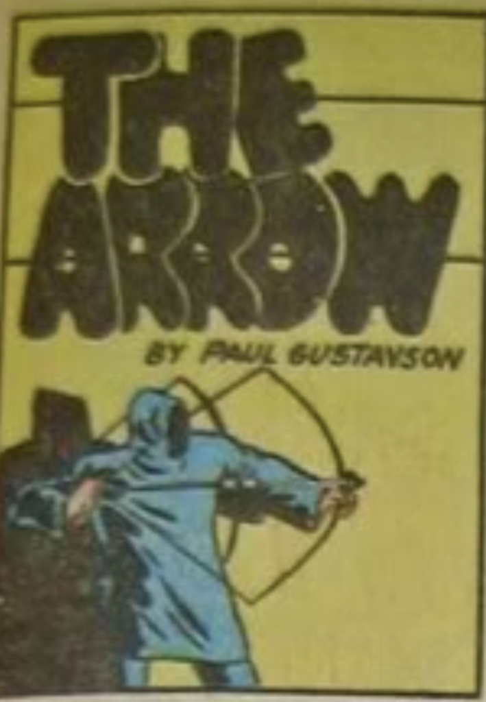 A panel from the Arrow story in Funny Pages #21, July 1938