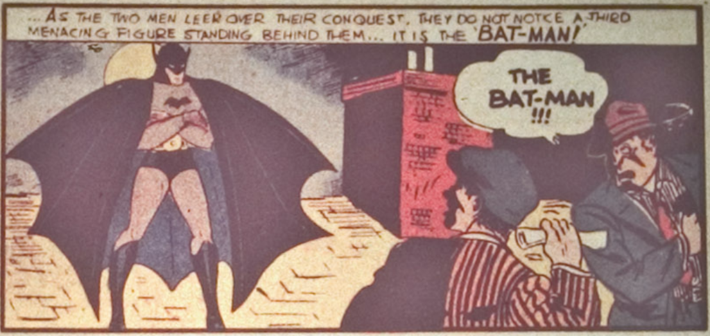 A panel from the first Batman story in Detective Comics #27, April 1939