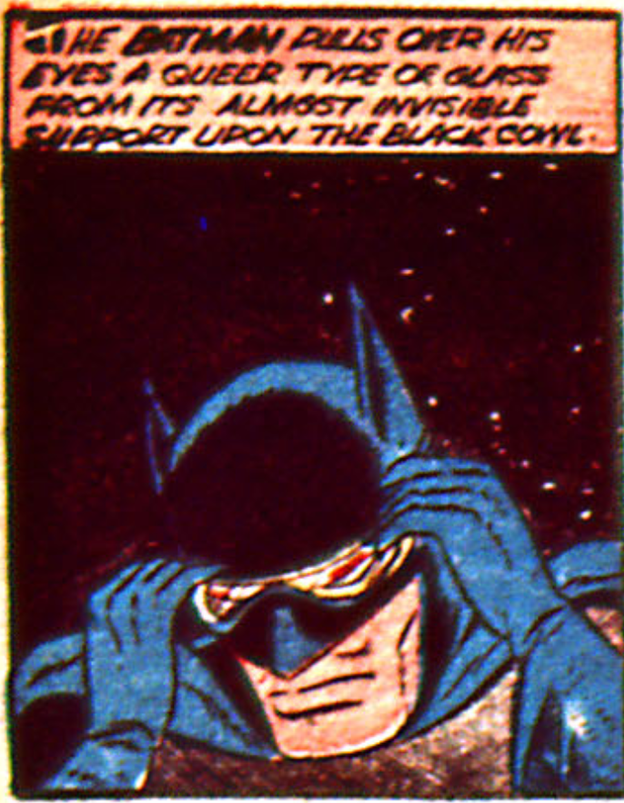 A panel from the Batman story in Detective Comics #36, February 1940