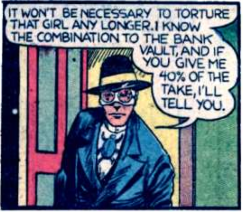A panel from the first Blue Beetle story in Mystery Men Comics #1, June 1939