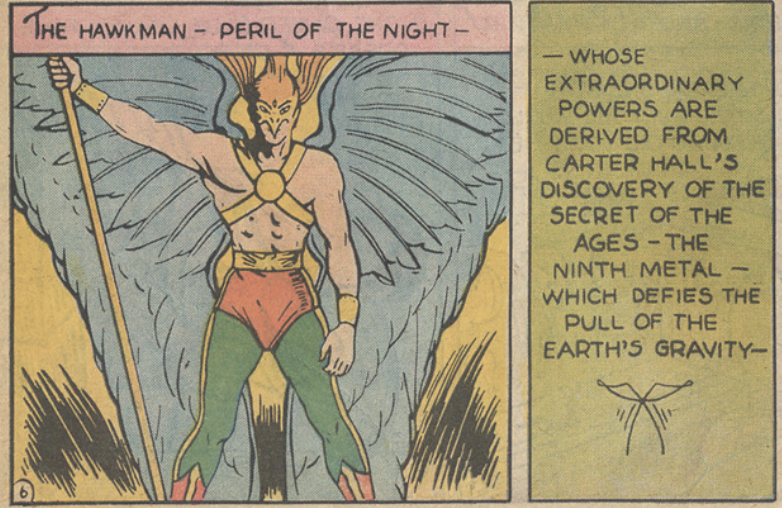 A panel from the Hawkman story in Flash Comics #1, November 1939