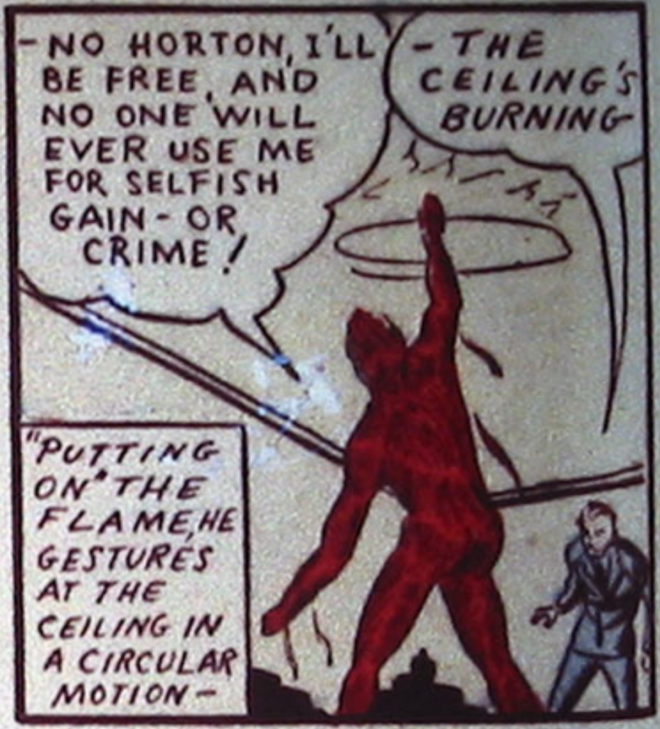 A panel from the Human Torch story in Marvel Comics #1, August 1939