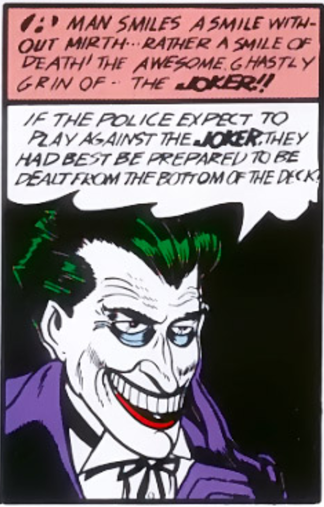 A panel from the first appearance of the Joker in Batman #1, April 1940