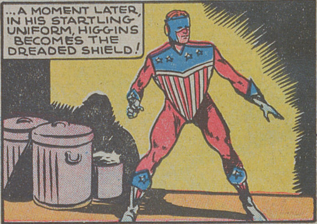 A panel from the Shield story in Pep Comics #1, November 1939
